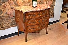 Fine quality French floral marquetry marble topped commode, approx 91cm H x 100cm W x 45cm D