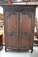Antique French Normandy carved oak two door armoire, approx 238cm H x 178cm W x 68cm D