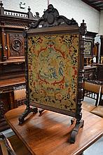 Antique French walnut fire screen, tapestry panel, approx 145cm H x 80cm W
