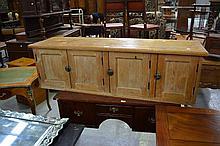 Antique English pine four door cabinet. Approx 47cm H x 153cm W x 40cm D