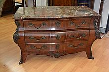 Antique late 19th century French marble topped three drawer bombe commode, parquetry decoration, lar