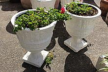 Pair of urn style garden planters with geraniums (2)