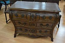 Antique 19th century Louis XV style bombe shaped walnut three drawer commode, fitted with bronze mou