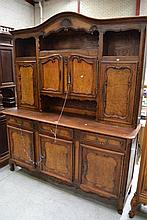 French Louis XV style inset figured walnut panelled door hutch, approx 233cm H x 12cm W x 54cm D