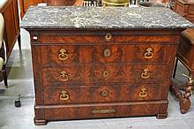 Antique French Louis Philippe period flambe mahogany four drawer commode, (marble top broken in piec