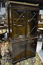 English two height Georgian style bookcase, approx 191cm H x 99cm W x 34cm D
