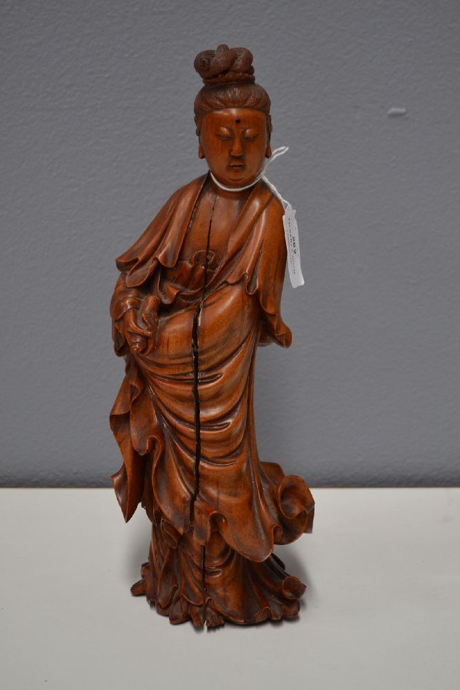 Ex jimmy the skimmer chinese carved wooden figure of guan
