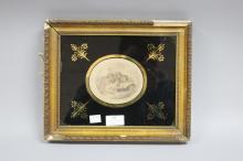Antique  eglomise framed hand coloured oval engraving, marked l. Howes (showing some damage to frame) approx 25cm x 31cm (including frame)
