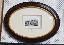 Antique framed engraving, hunting hounds, mounted in a vintage oval frame, approx 11cm x 17cm