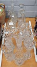 Crystal and glass lot to include decanter, vases, etc, approx 33cm H and smaller