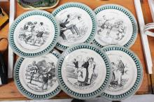 Antique French sports series ware plates, approx 20cm dia (6)