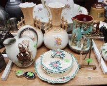 Lot of miscellaneous to include two vases, pot, cheese plate, frame, and two small trinkets, approx 24cm H and shorter
