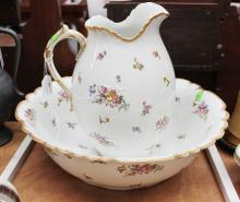 Antique French porcelain basin set, basin approx 43cm dia (2)