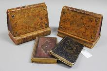 Pair of antique French book bookends, made from antique leather bound books along with two French antique Volumes, Fenelon Des Demoiselles and Histoire De Sainte Marie(4)