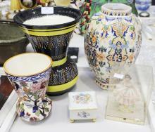 Quimper vase, Gien vase, Fiance vase, Dresden lady figure and a Limoges trinket, approx 27cm H & shorter