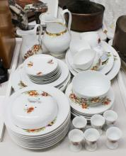 Antique Austrian china part service, printed decoration, to include jug, platters, plates egg cups etc