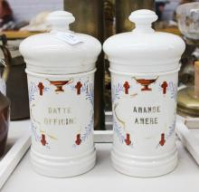 Two antique French porcelain chemist jars