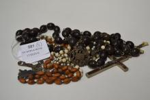 Lot of four Rosary beaded crucifixes