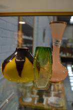 Three glass vases, to include green Art Deco vase, yellow & brown squat vase, along with a gilt rimmed pink vase, approx 16cm H & shorter (3)