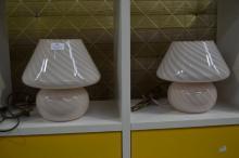 Pair of vintage venetian glass bedside lamps (2)