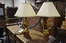 Pair of neo classical style painted wood lamps and shades, each approx 80cm H