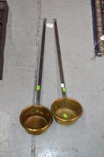 Two French brass scoops (2)