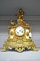 Antique French gilt metal clock, approx H:43cm