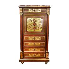 Superb quality antique French Louis XVI style, brass inlaid secretaire cabinet, marble topped, brass banded, fitted with turned fluted columns to the sides approx 141cm H x 73cm W x 41cm D
