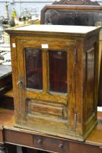 Antique French oak glazed single door wall cupboard fitted with red glass, approx 61cm H x 50cm W x 30cm D