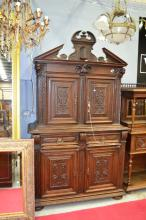 Antique French Renaissance style two piece buffet, fitted with carved cupids to the corners, approx 238cm H x 140cm W x 56cm D
