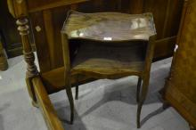 Vintage French open shelf bedside cabinet with cut out heart shaped hand grips, approx 74cm H