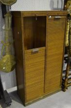 Vintage French oak two section filing cabinet, approx 151cm H x 80cm W x 39cm D