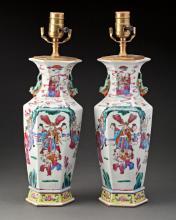 PAIR OF CHINESE HEXAGONAL PORCELAIN LAMP BASES