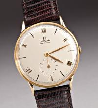 A VINTAGE MAN'S OMEGA 14KT GOLD BACKED WRISTWATCH