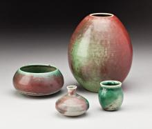 A FOUR PIECE GROUPING OF DEICHMANN ART POTTERY
