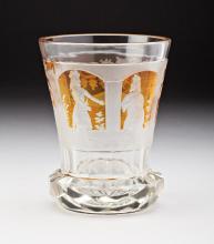 A BOHEMIAN 'CUT TO CLEAR' GLASS BEAKER