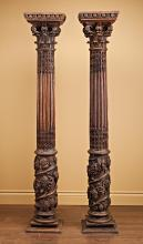 A FINE PAIR OF HAND CARVED CORINTHIAN COLUMNS