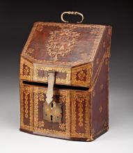 A GILT-TOOLED & EMBOSSED LEATHER DOCUMENT BOX