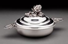 19TH CENTURY SILVER TWO-HANDLED COVERED DISH