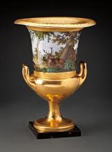 AN EXCEPTIONAL 19TH CENTURY PORCELAIN HANDLED URN