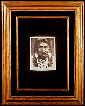 Scrimshawed Mastadon Ivory Image of Chief Joseph