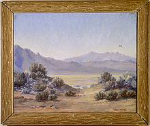 Desert Landscape - Oil on Canvas, circa 1950's