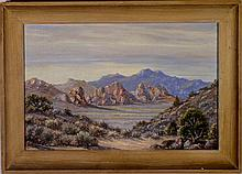 Desert Landscape - Oil on Board, circa 1950's