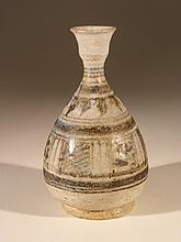 Early Thai Brown & White Glaze Bottle