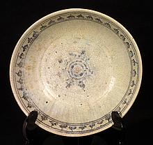 15th C. Thai Dish with Oxide Underglaze Pattern