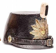 A scarce mid 19th century infantry officer's shako