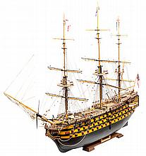 A modern museum style wooden model of Nelson's fla