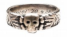 """A Third Reich SS officer's """"Totenkopf"""" presentation ring, silver coloured,"""
