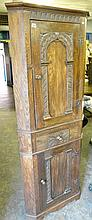 CARVED OAK FLOOR STANDING CORNER CABINET 183 X