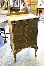EDWARDIAN BEECH FIVE DRAWER MANUSCRIPT CHEST ON